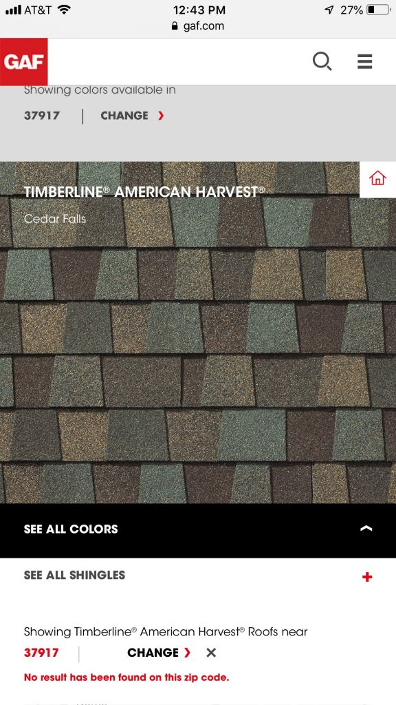 This is a screenshot from the GAF website with the Color American Harvest.