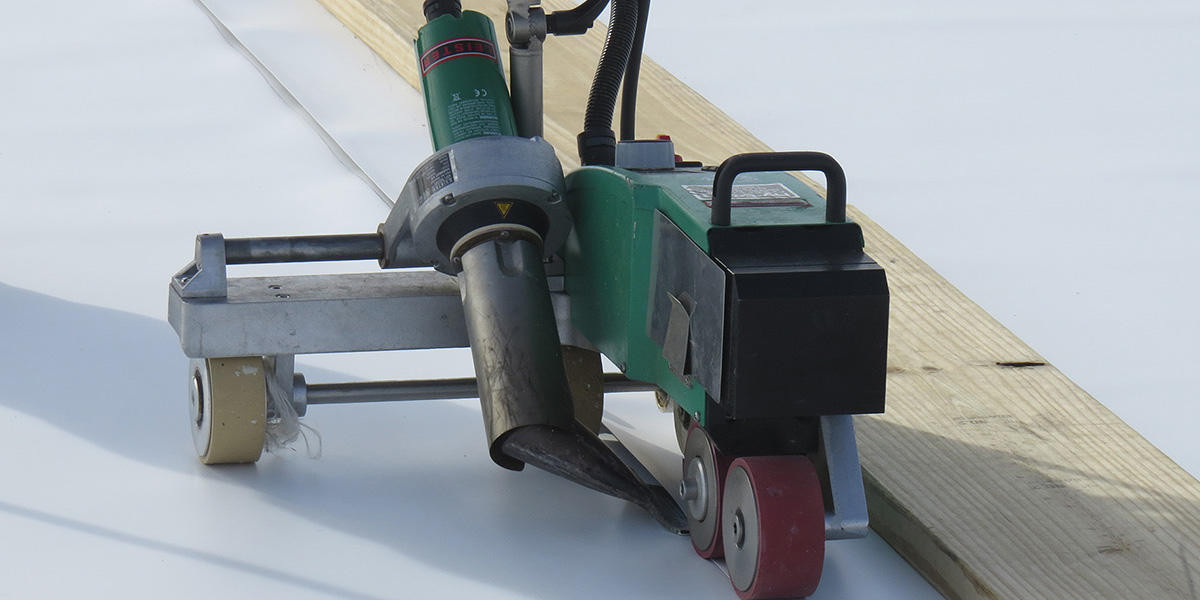 This is a view of a heat welder for flat roofing.