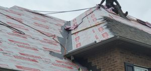 This is a view of ice and water shield being installed in the valley of the roof.
