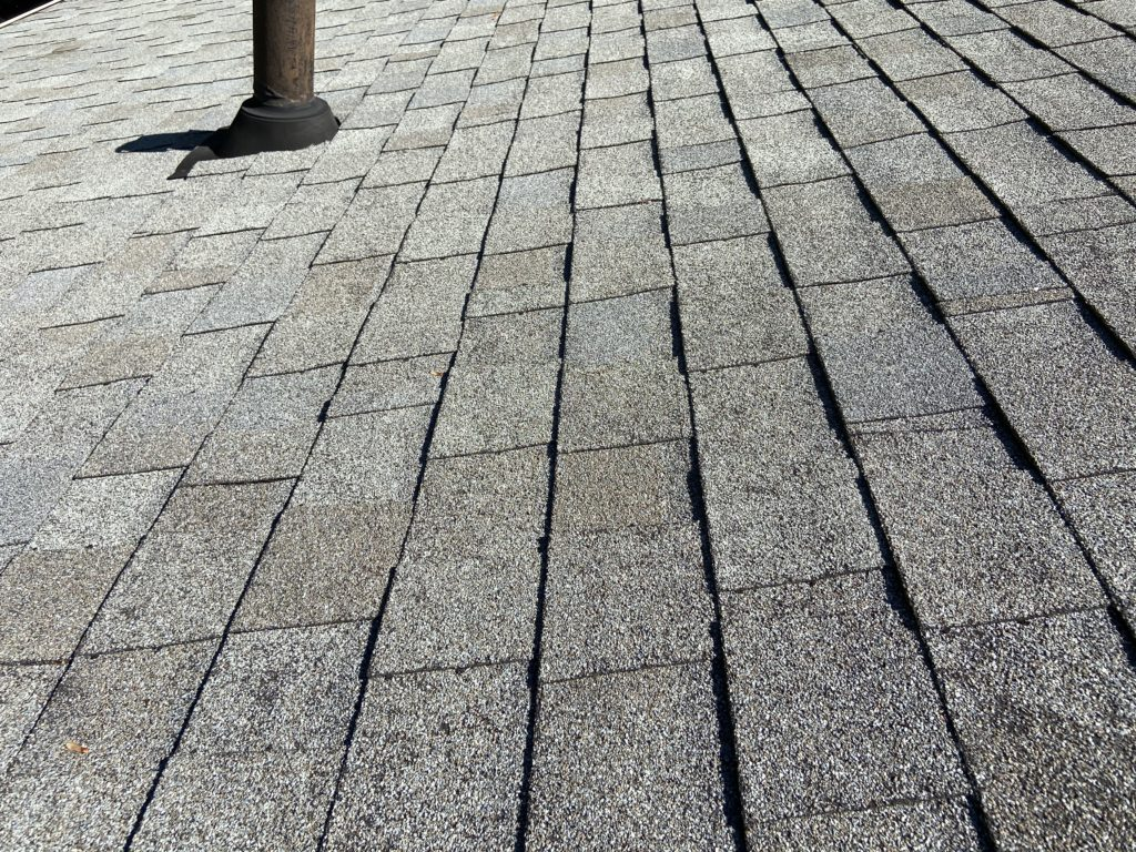 This is a view of gray shingles on a roof.