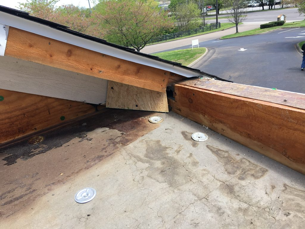 This is the view wood of the parapet walls on the flat portion of the roof.