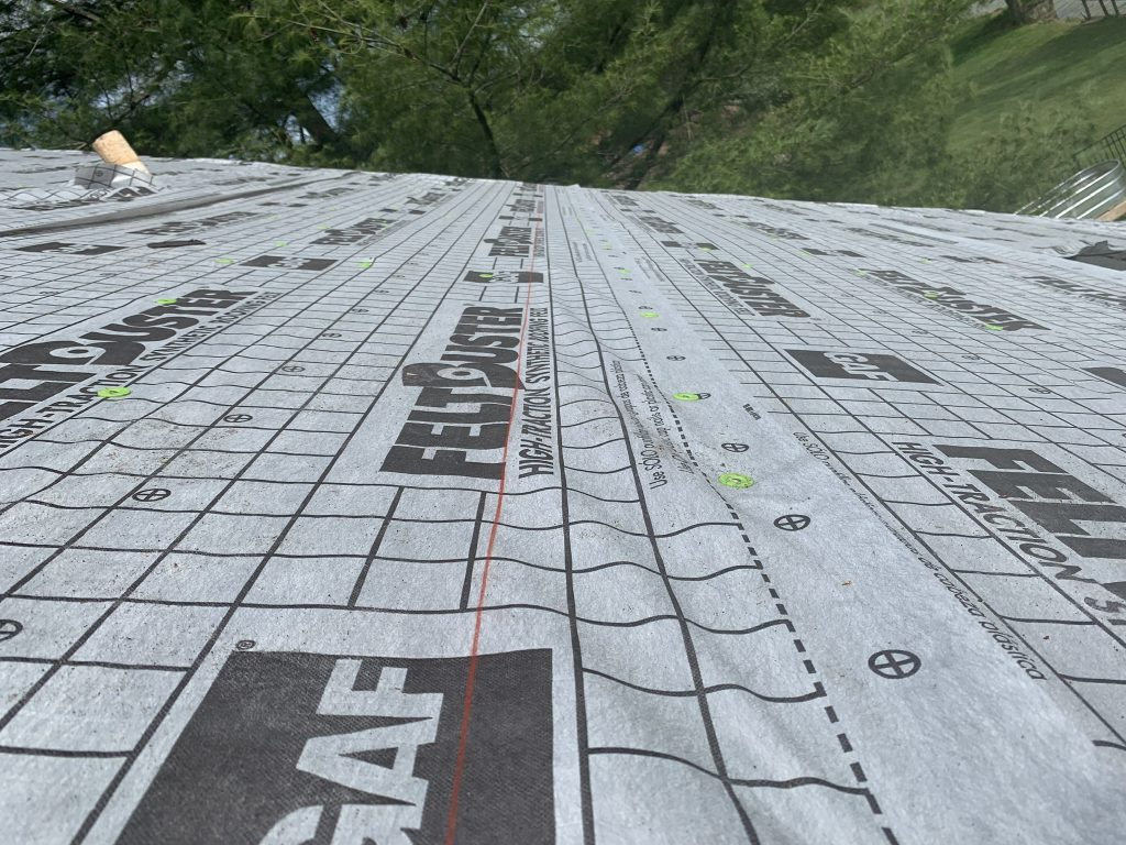 This is a view of GAF Feltbuster installed on the roof deck.