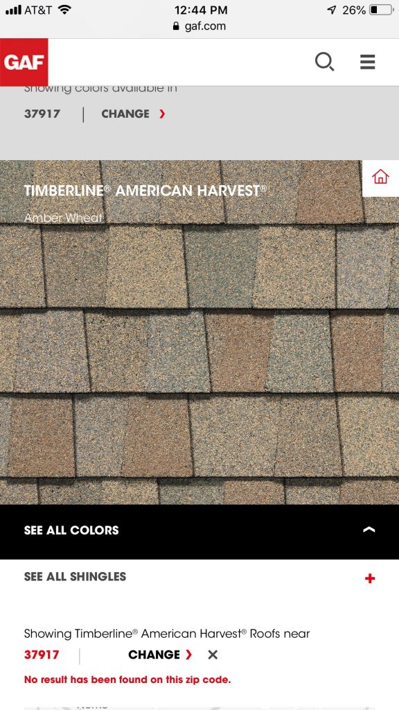 This is an image from GAF website showing the color American Harvest.