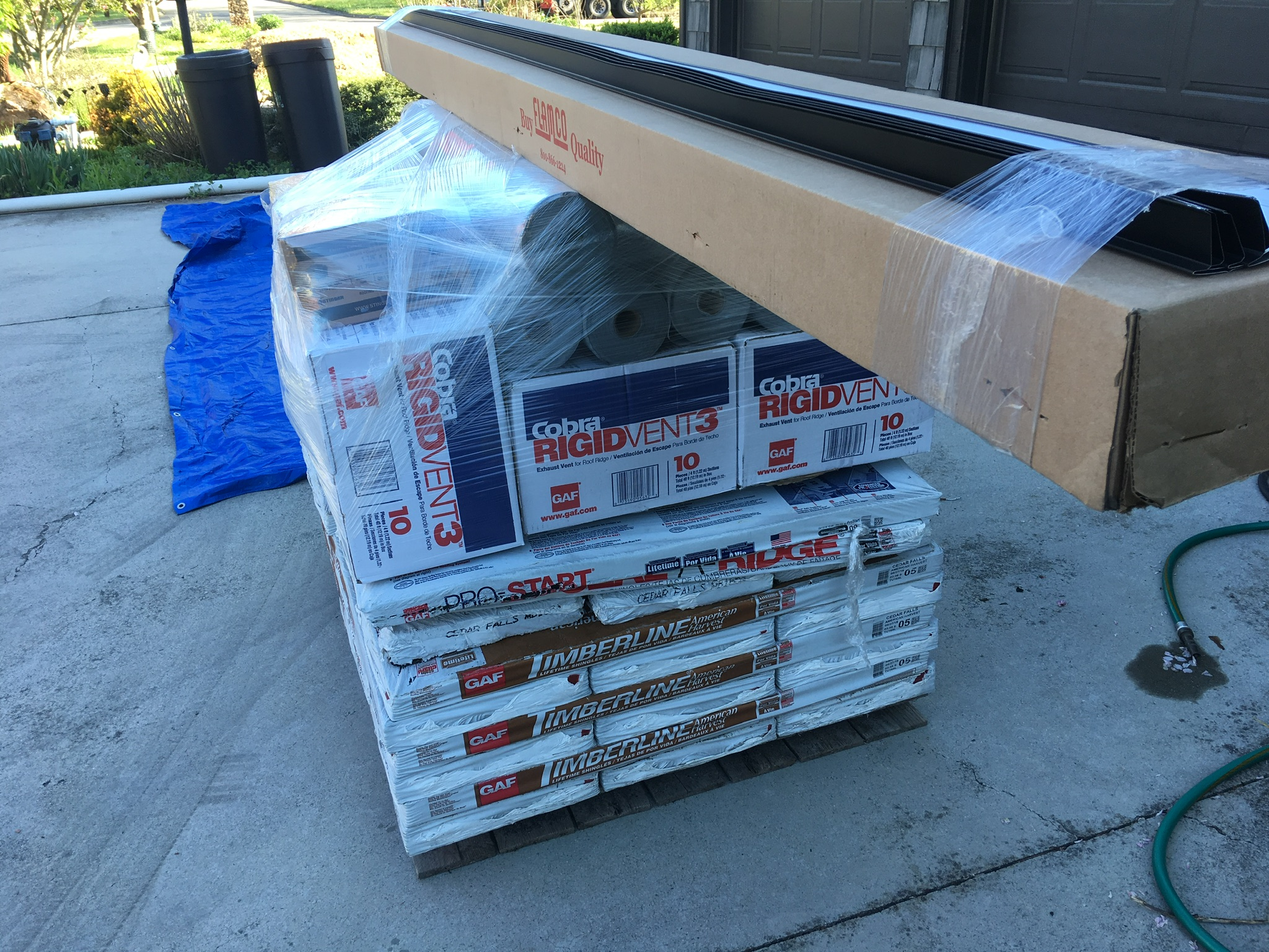 This is a view of all roofing materials delivered to the home from the distributor.