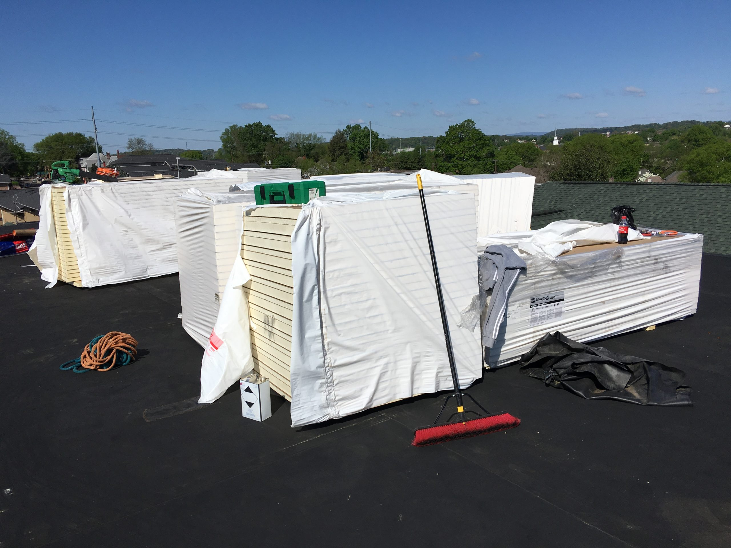 This is a view of the materials loaded on the roof for install.