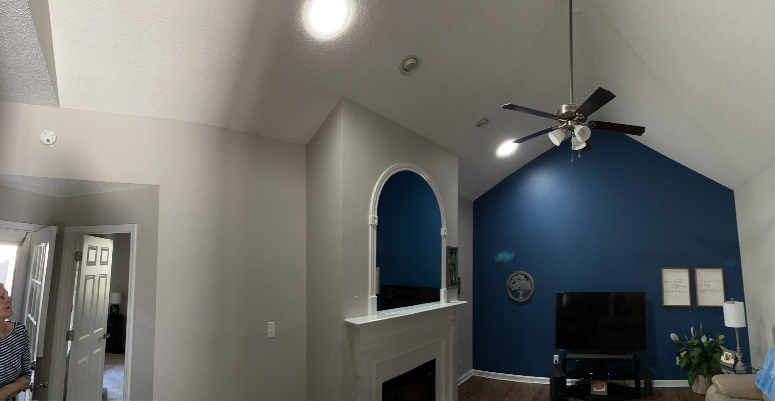 This is a view of the sun tunnel installed in the ceiling and shining light in the room.