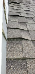 A close up view of the buckling shingles  on the roof.