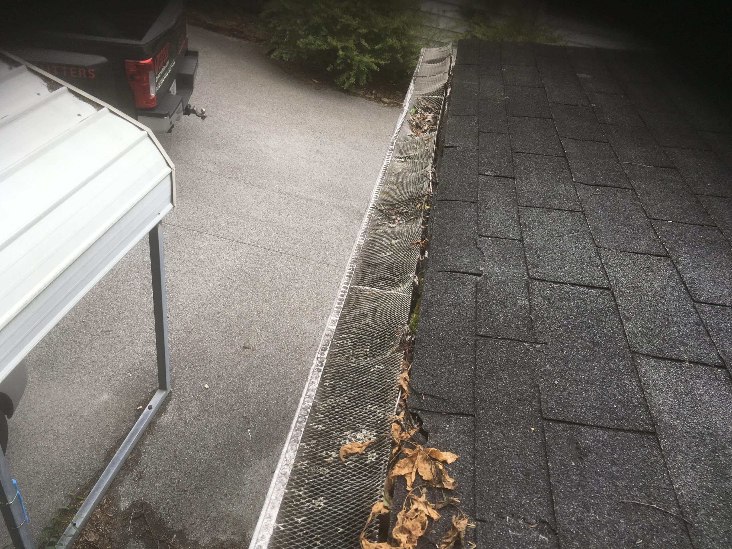 Gutter guards that are no longer functioning and allowing debris in.