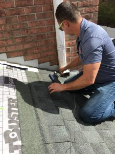 This is a view of shingles being installed on a roof.