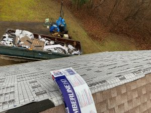 This is a view from the ridge of the roof with GAF Feltbuster installed.
