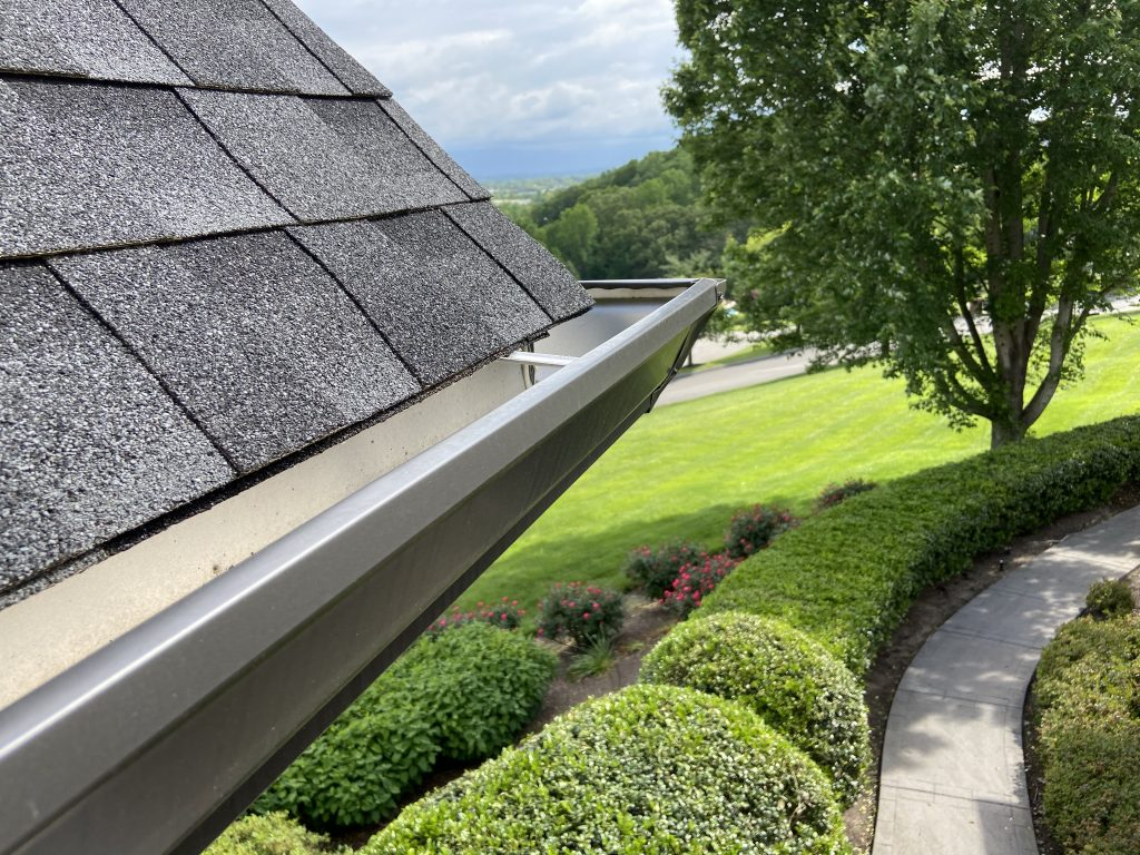 This is a view of eave of the roof showing the gutter.