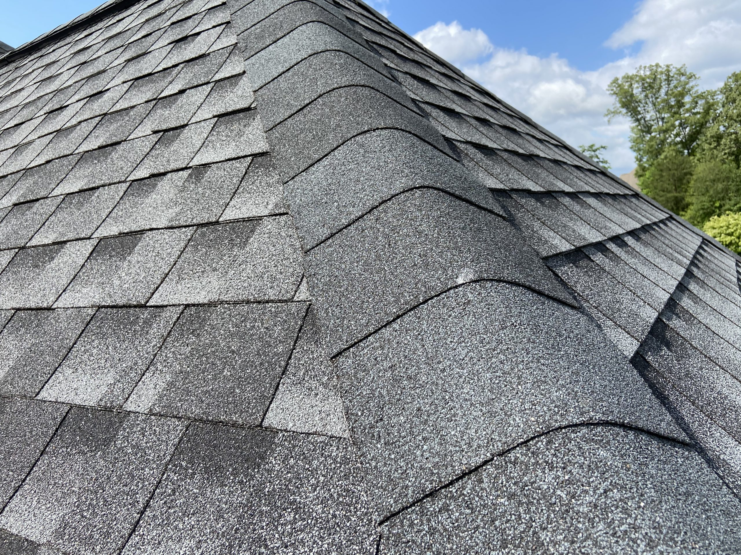 This a close up view of the hip and ridge shingles.