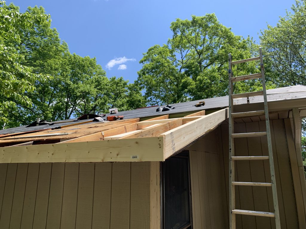This is a picture of exposed roof prepared for installation.