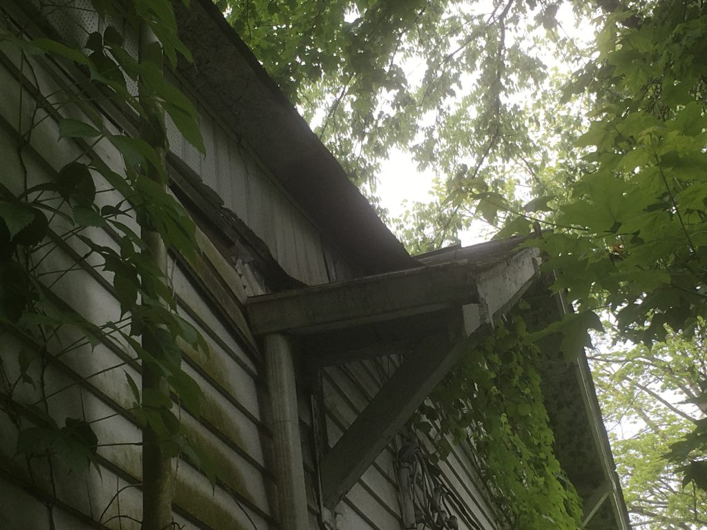 This is a picture from the ground for a view of the soffit.