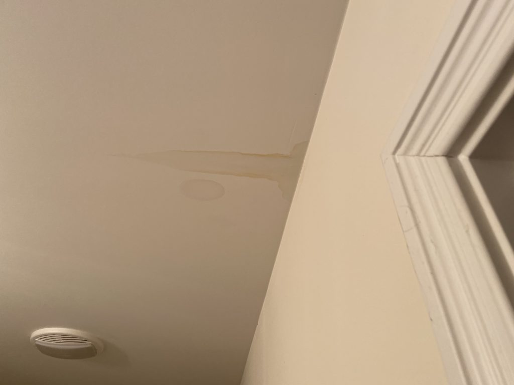 this is a ceiling stain that was caused by the leaking pipe boot