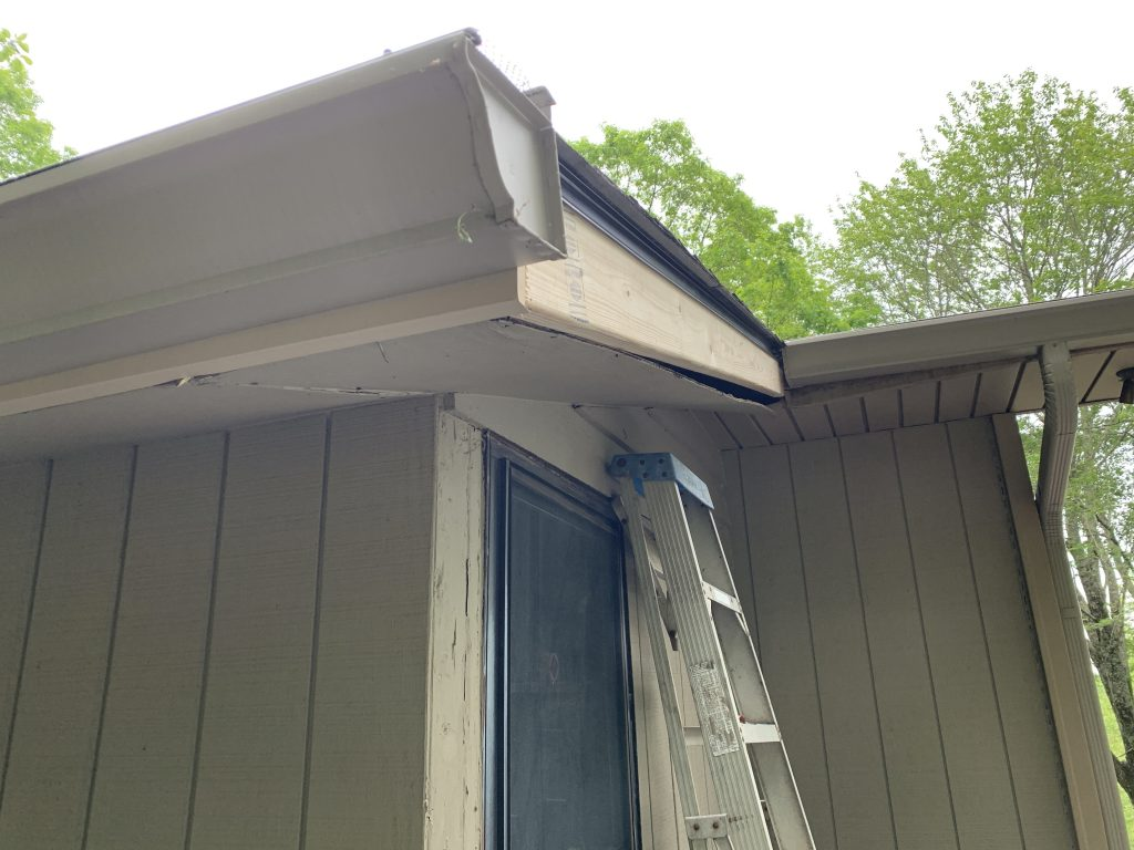 This is a picture of damaged fascia board.
