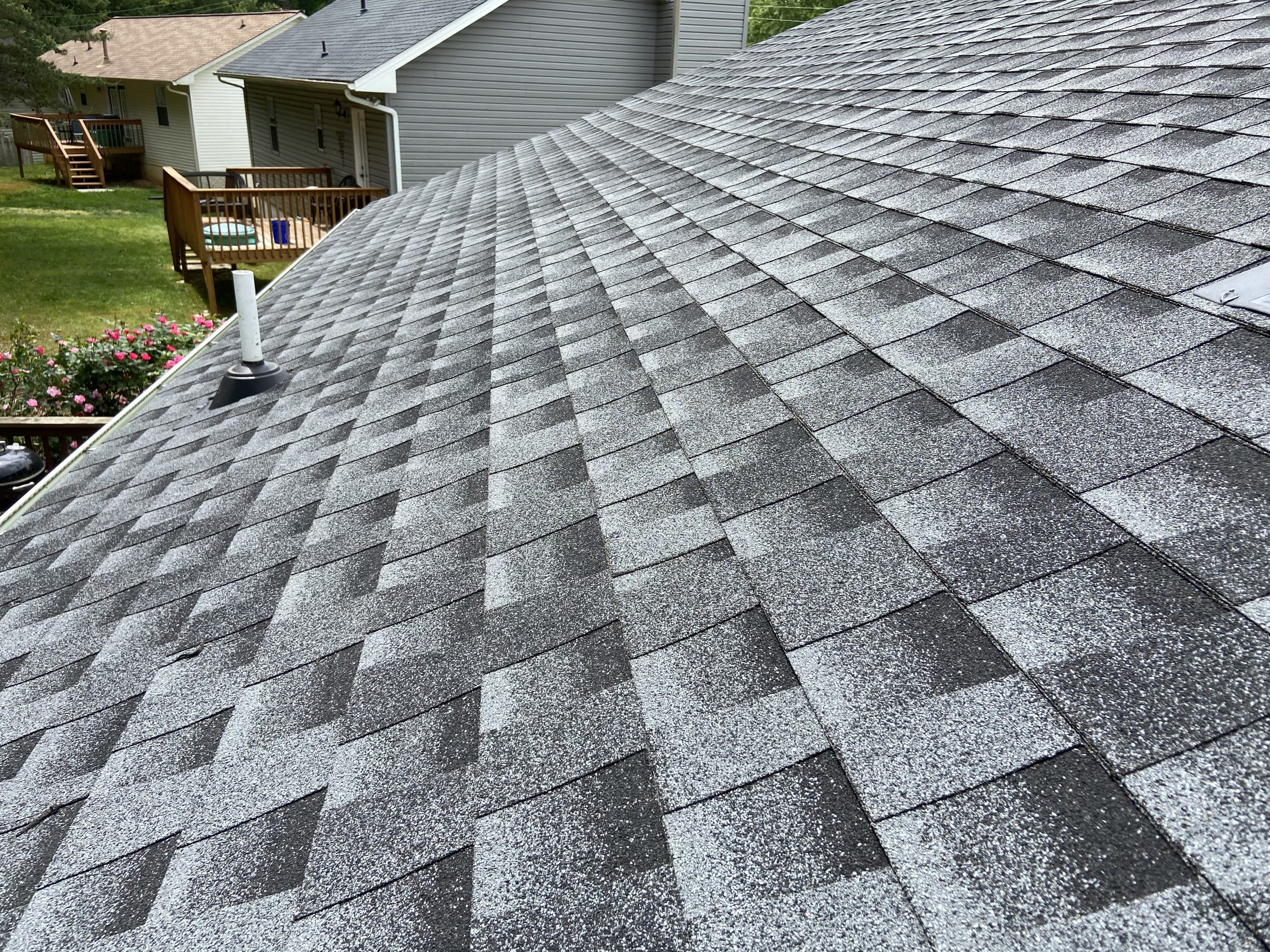 This a view at the roof slope with GAF Timberline HD Shingles.