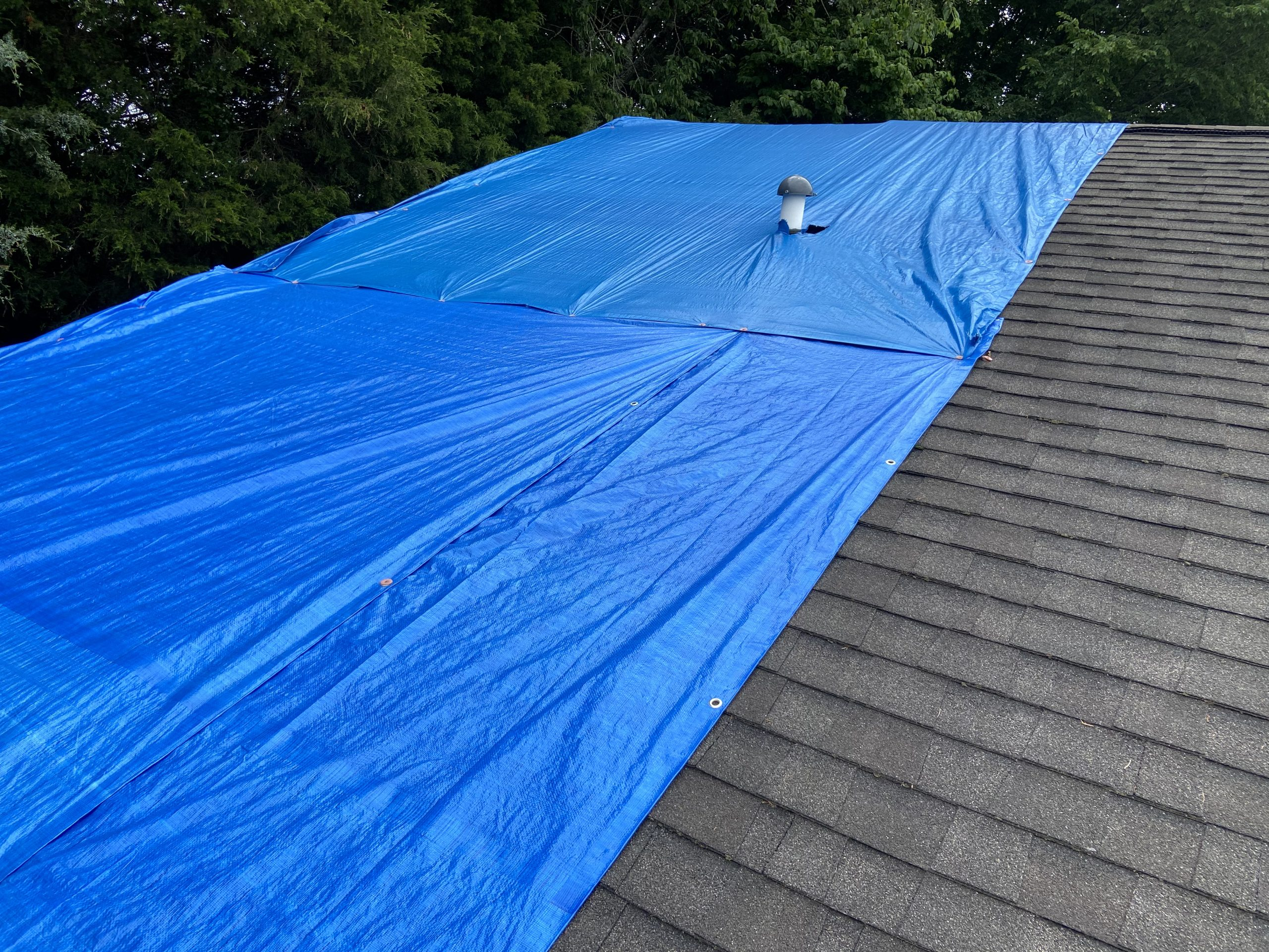 This is an image of a blue tarp on the roof to prevent leaking.