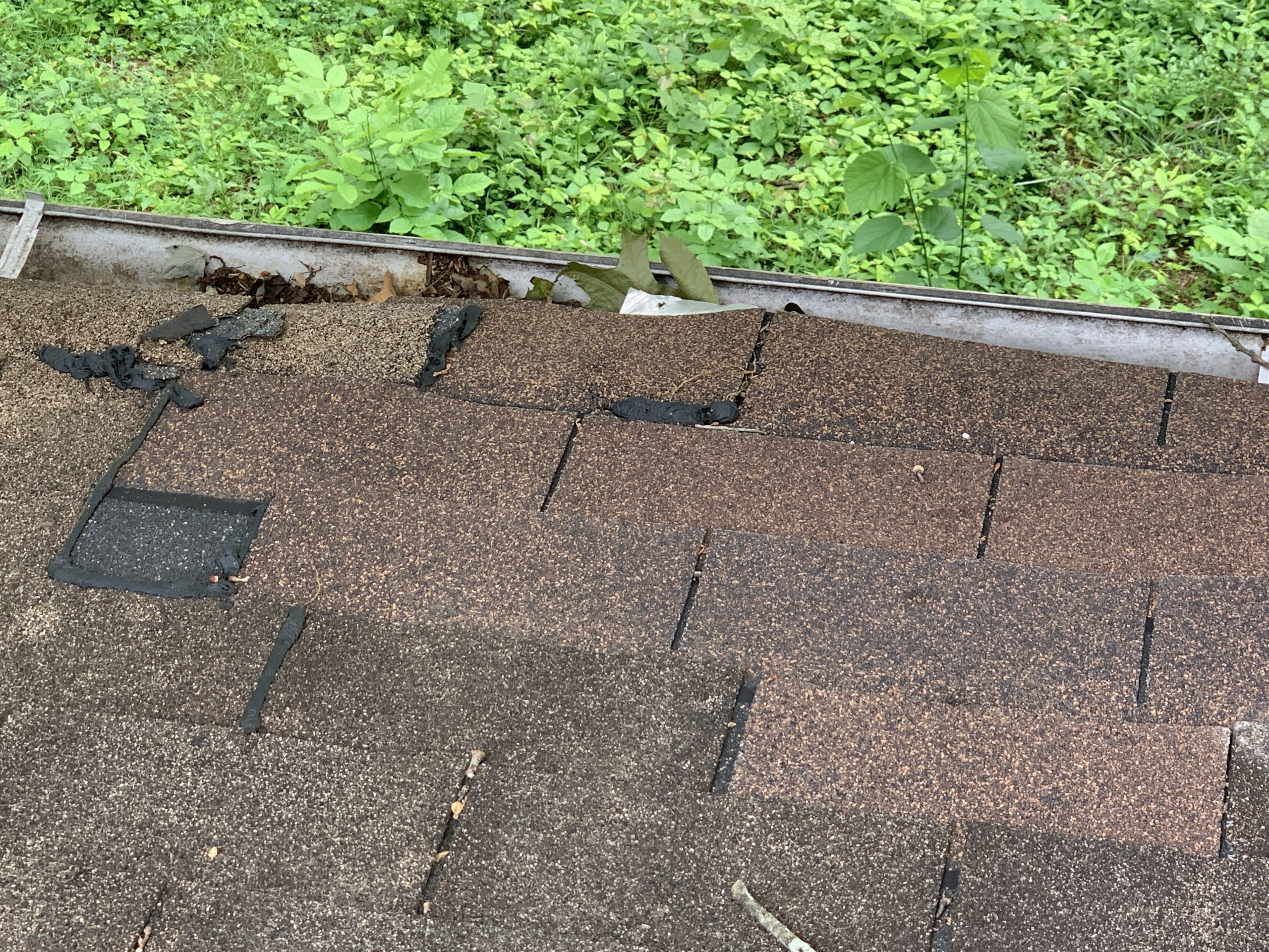 this picture is of the edge of a roof line where there are rotten boards and the shingles are starting to warp