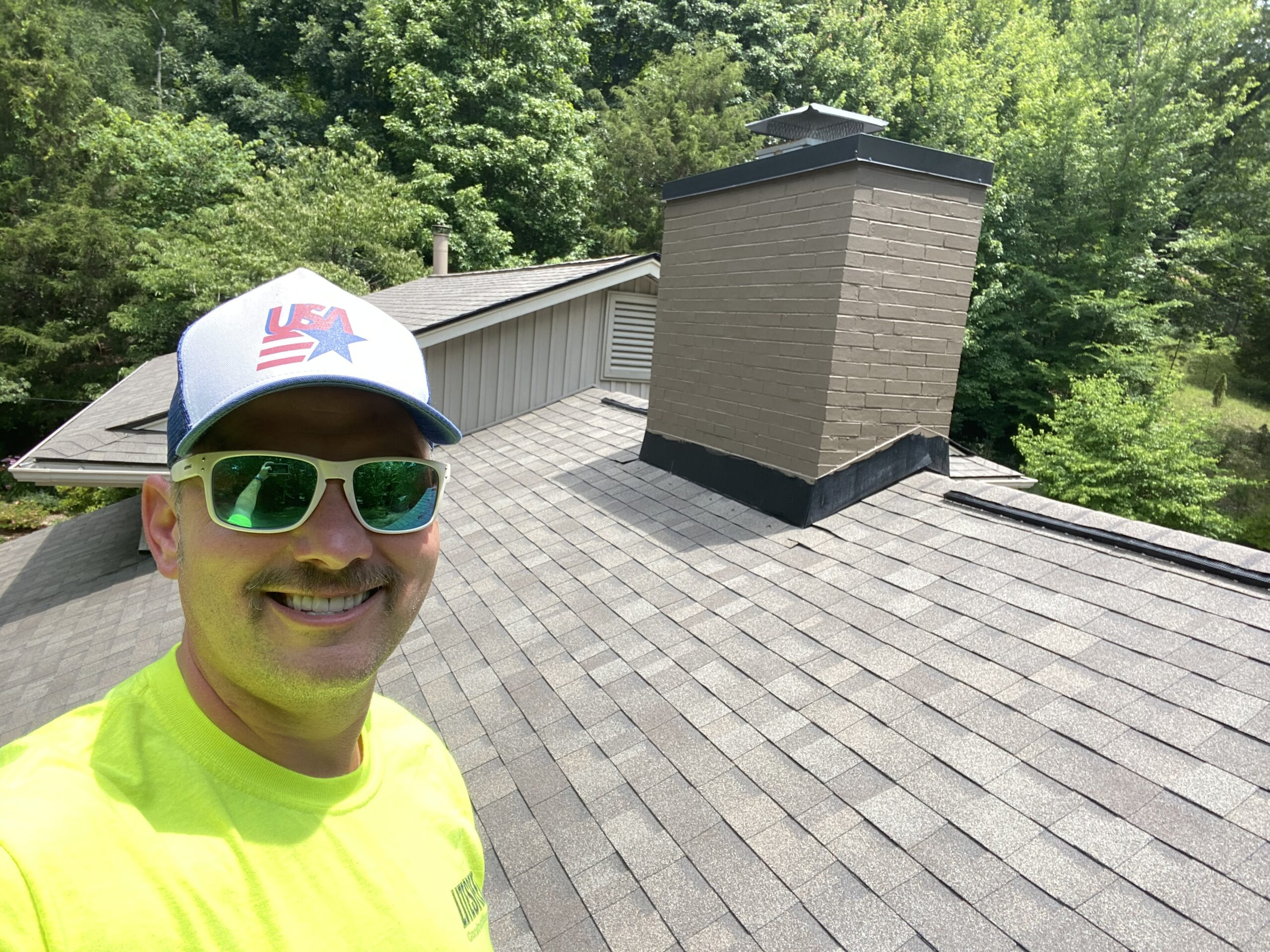 This is a view of the chimney on the roof.