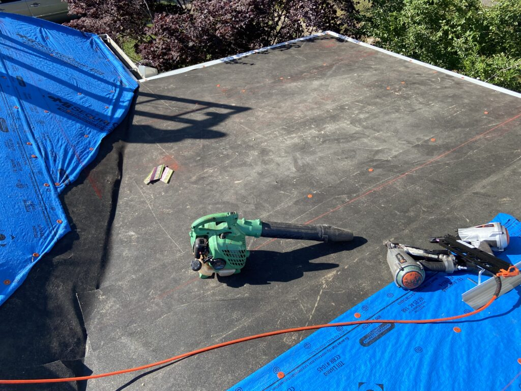 this is a picture of the ice and water shield that we installed on this flat portion of the roof for extra protection