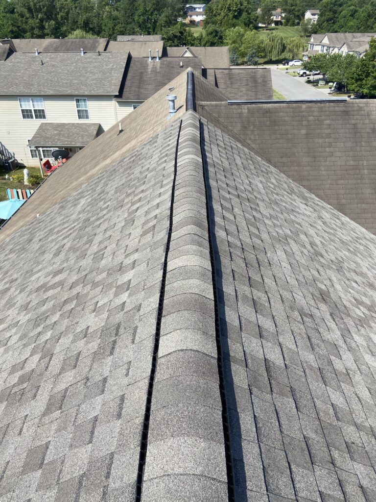 this is a picture of the ridge vent on a new roof