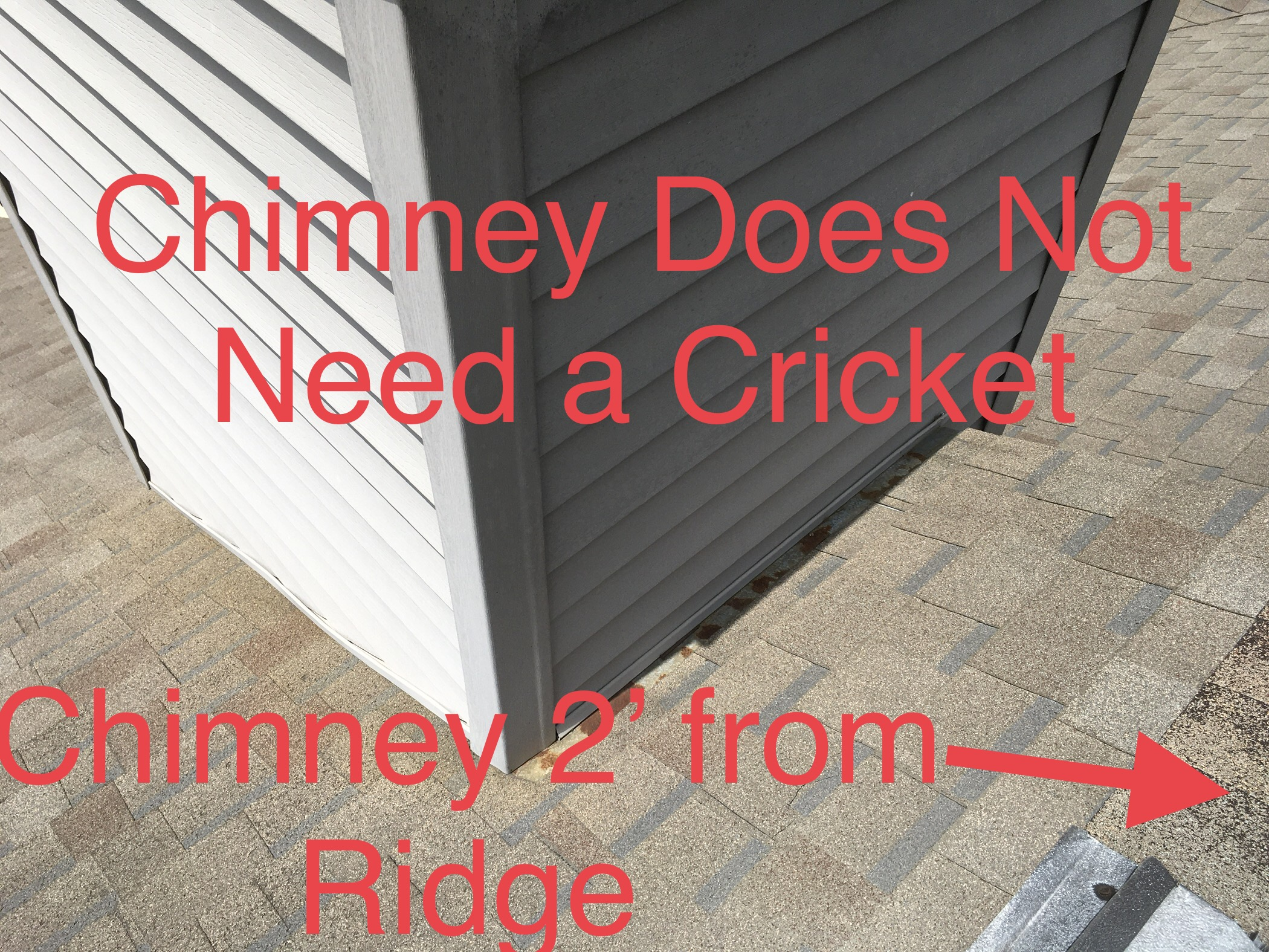this picture is a chimney that does not need a cricket behind it