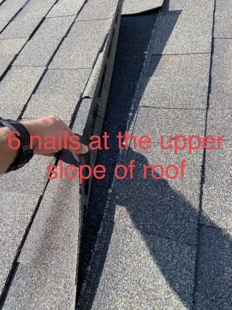 we used a 6 nail pattern on the steeper portion of this roof
