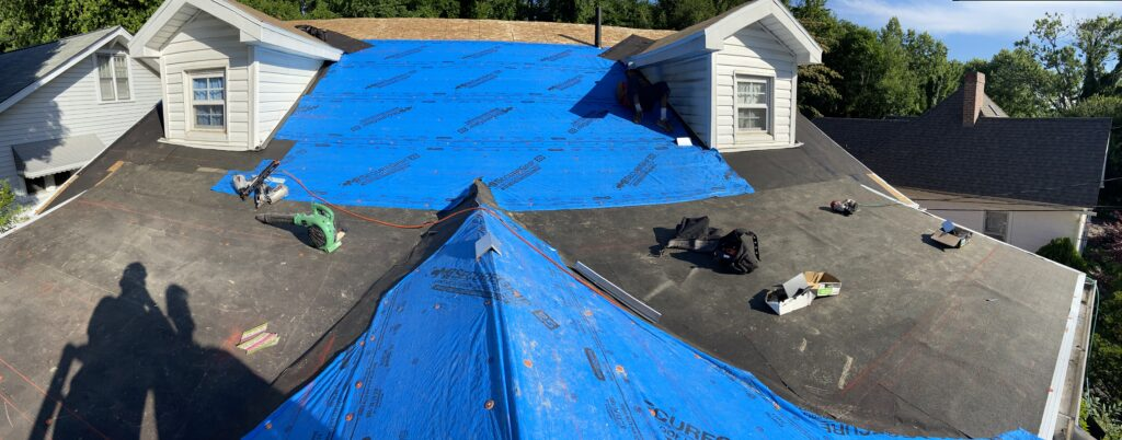 this is a picture of synthetic felt and ice and water shield on a roof