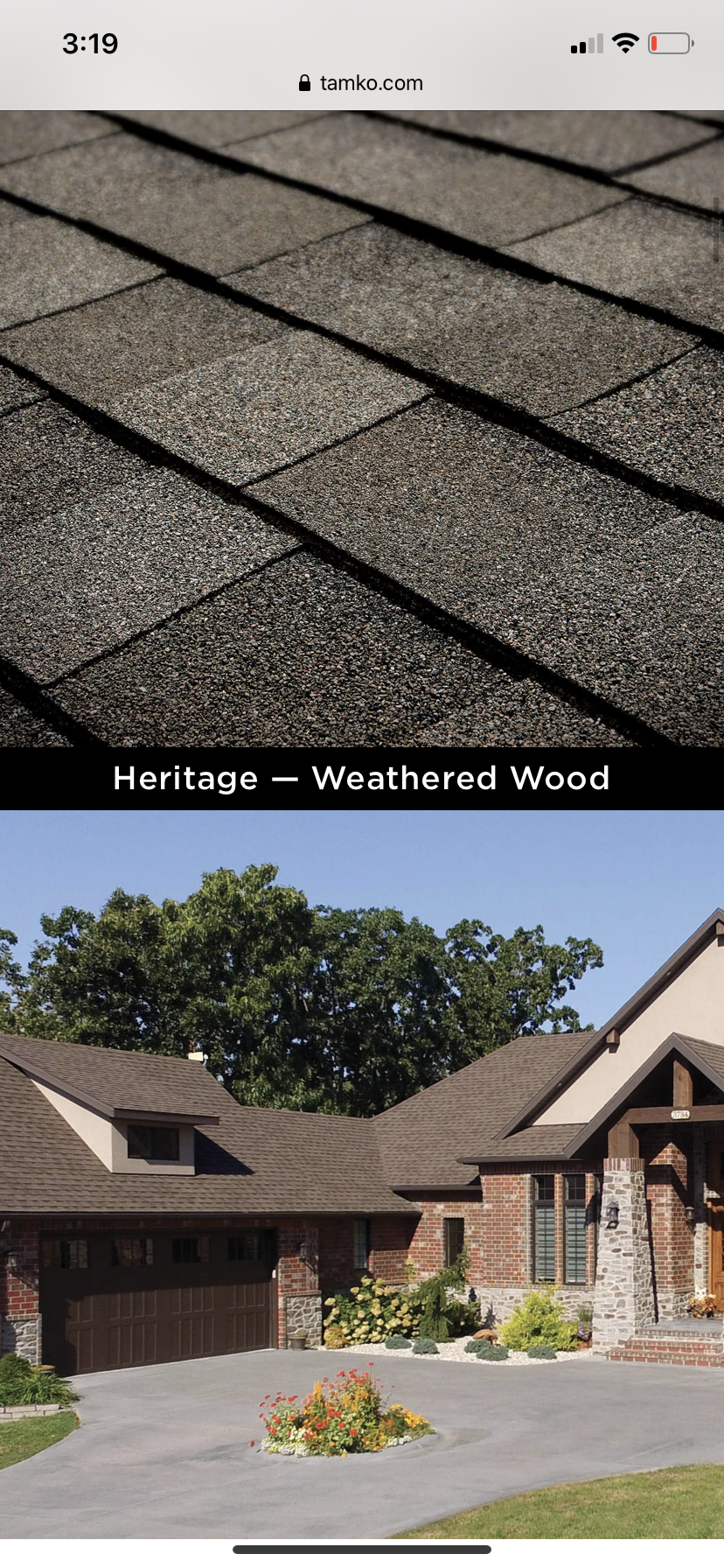 this is a stock picture of tamko heritage shingles that are weathered wood color