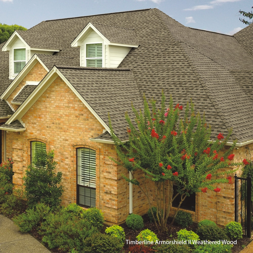 this is a picture of gaf weathered wood shingles on a roof