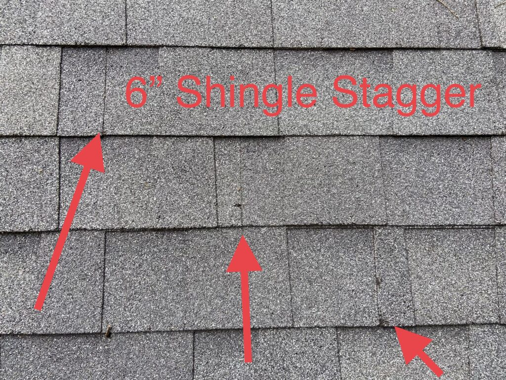 this is a picture that shows the correct stagger pattern of shingles installed on a new roof in knovxille tn