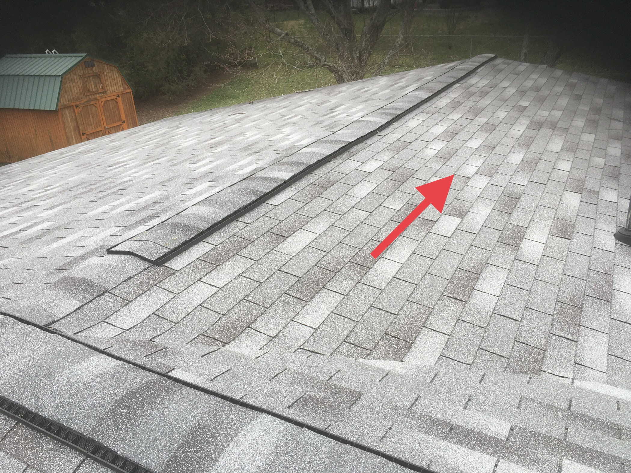 this section of this roof has soft spot, it is not anything that is causing a problem or needs to be repaired