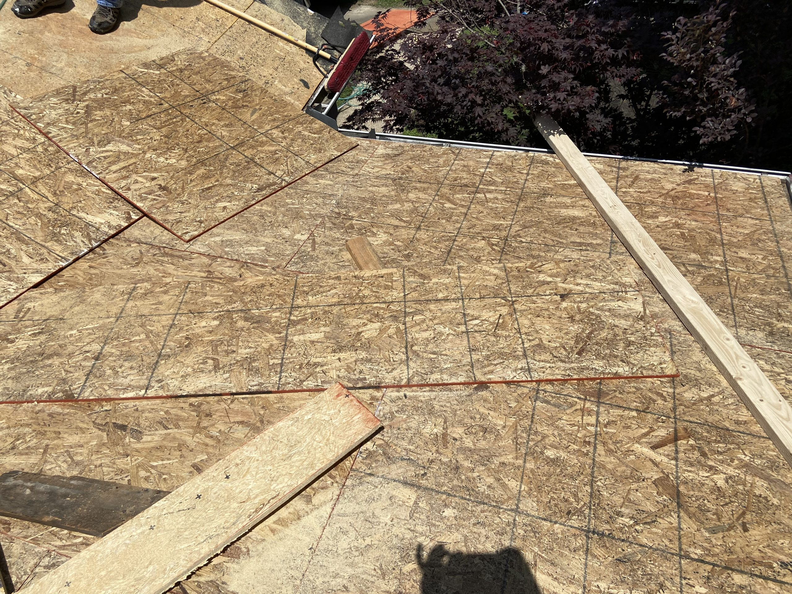 this is a picture of the deck boards that are getting installed on this roof