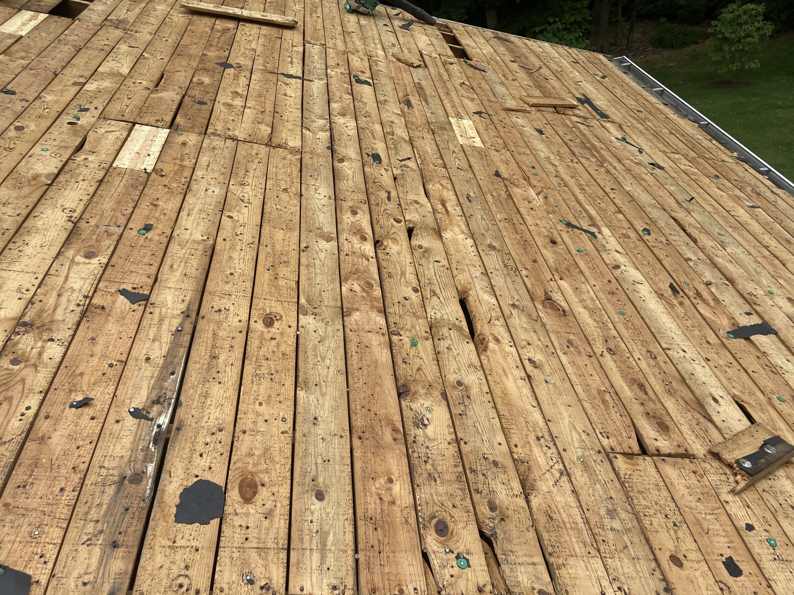 This is an image of the roof deck boards that are being replaced.