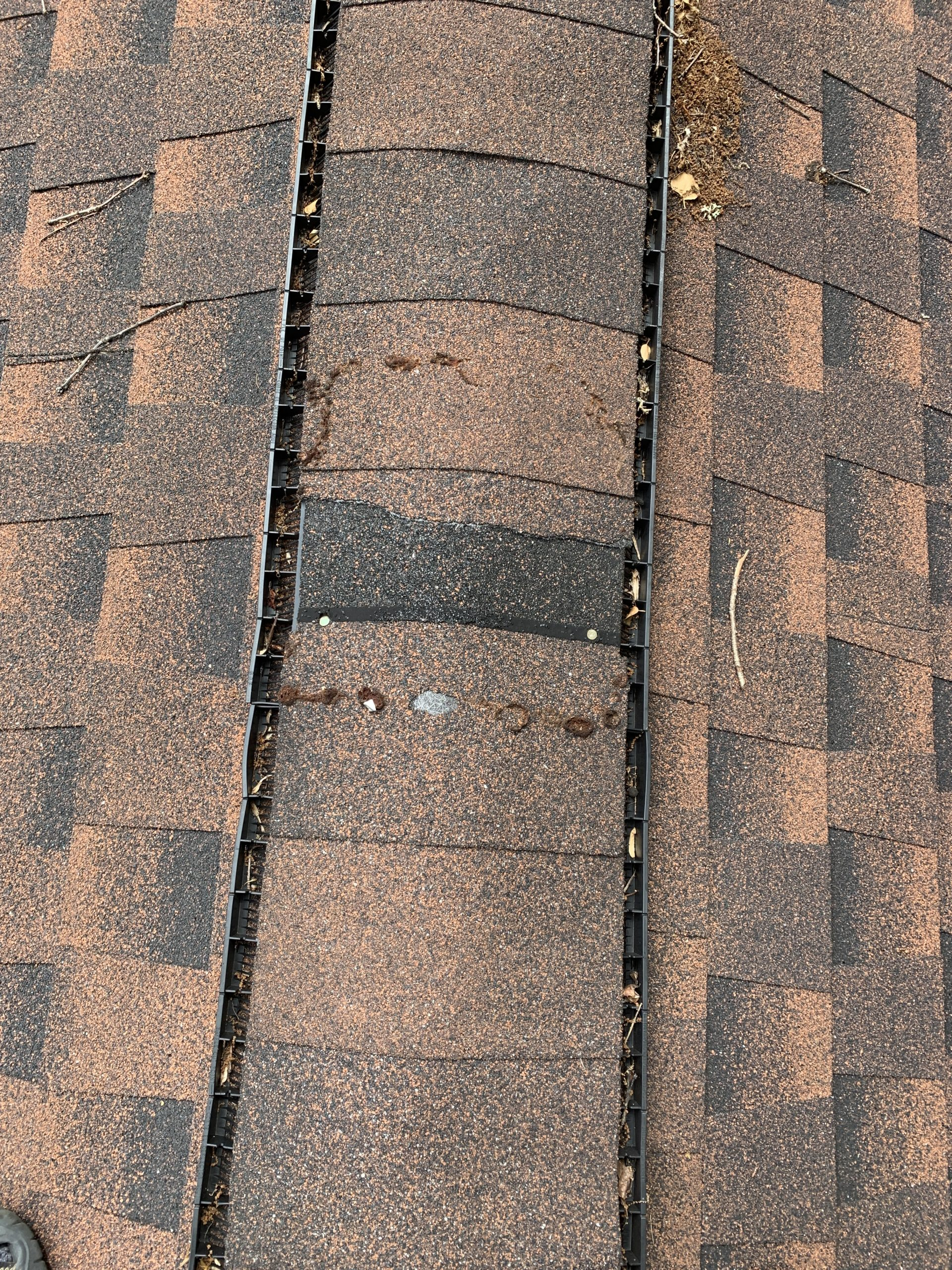 this is a picture of the ridge cap and ridge vent on a roof replacement that litespeed construction did