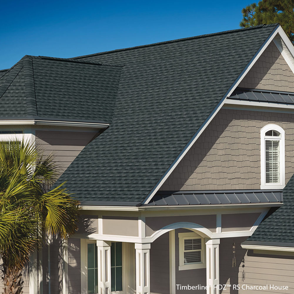 This is a picture of GAF charcoal shingles installed on a home