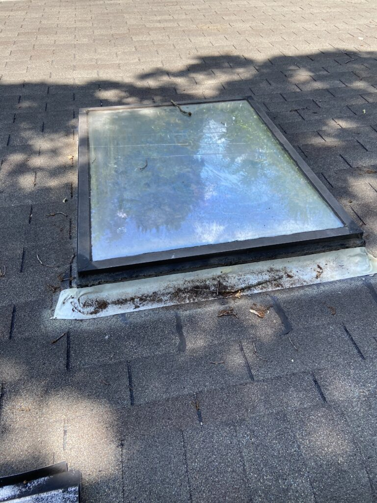 This is a before picture of the skylight when it is leaking