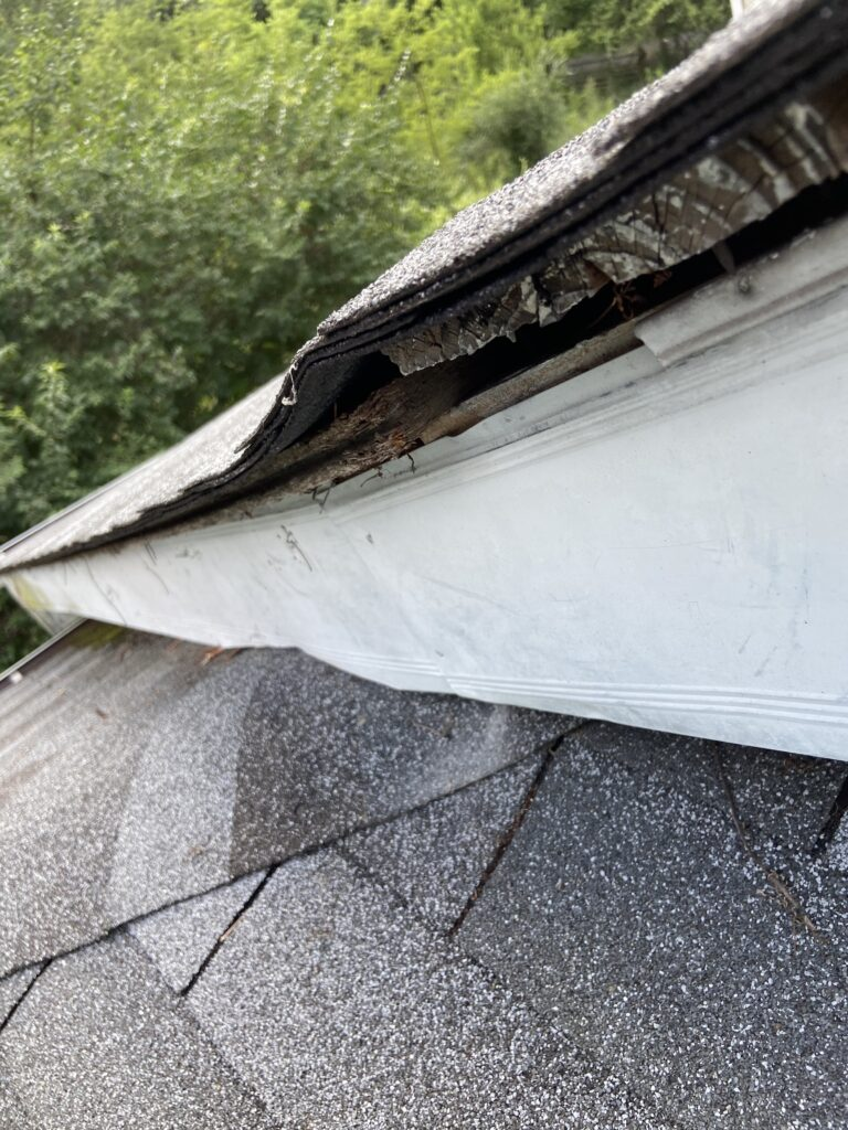 this photo also shows deck boards pulling up or the roof line falling down and separating from the deck boards