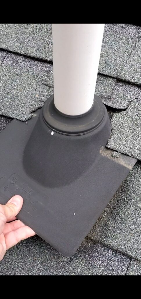 This is a picture of a pipe boot and the pipe coming out of the roof