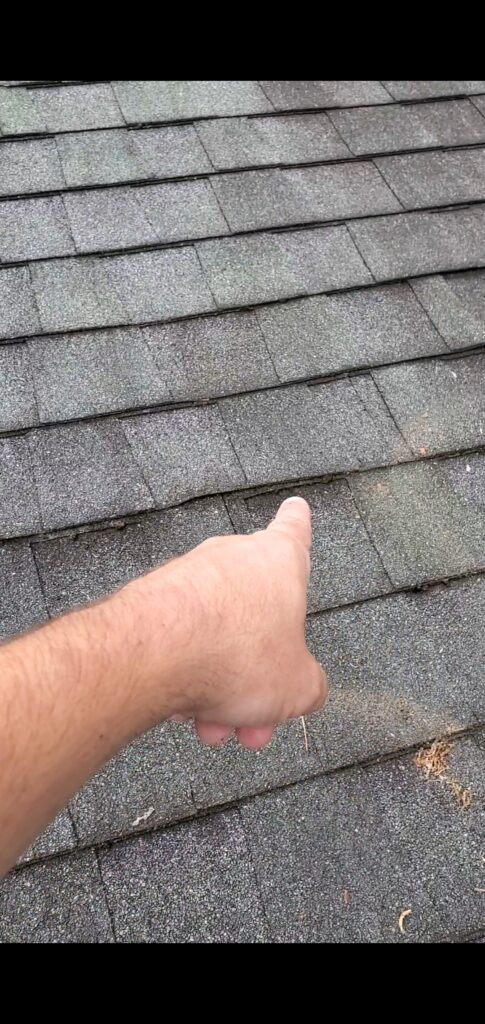 This is a picture showing the incorrect placement of the shingles.