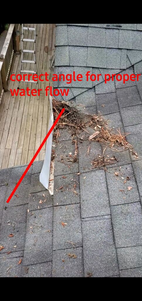 This is a picture of the incorrect angle of water flow.