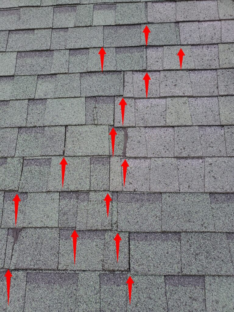 This is a picture of incorrectly installed shingles