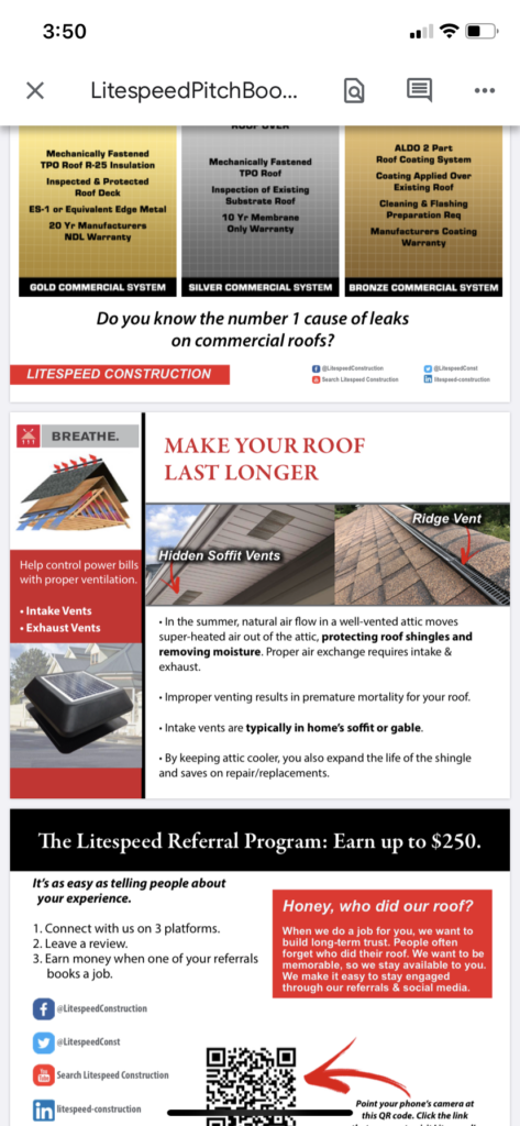 this is a picture of our brochure talking about the breathe portion of a roof which includes air coming into a roof and air going through the top of the roof