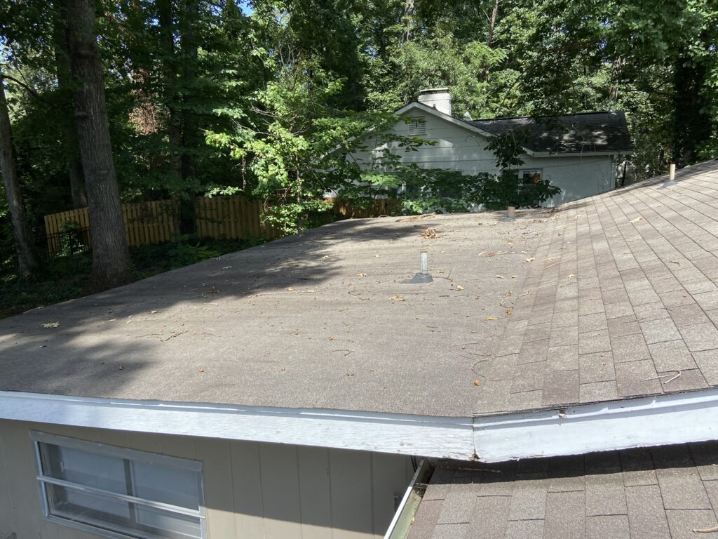 Commercial roof over a porch