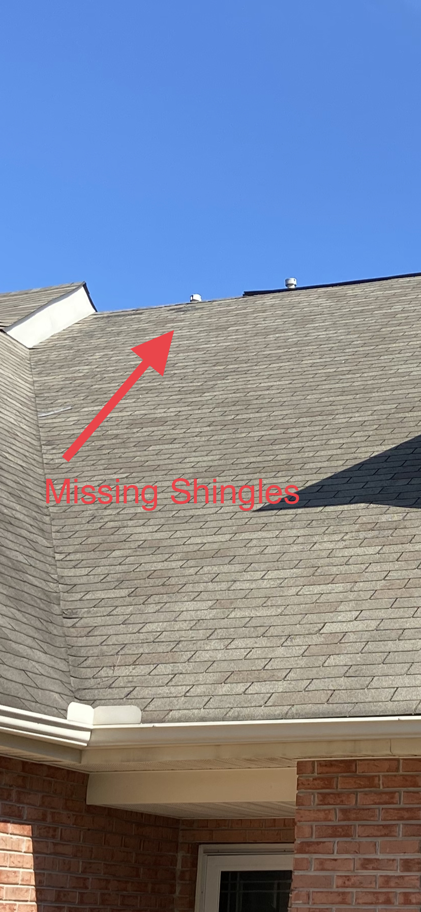 Shingle are missing on old roof