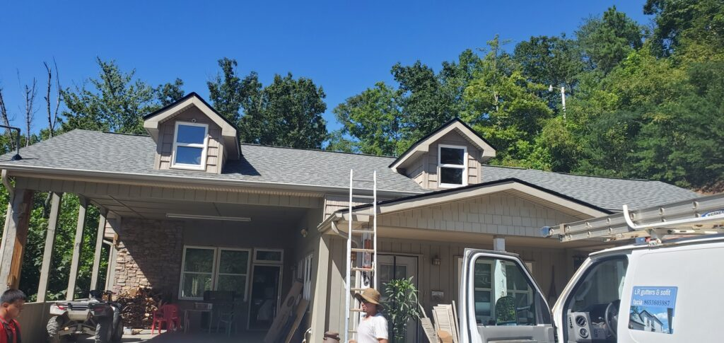 It's a picture of new siding on the dormers