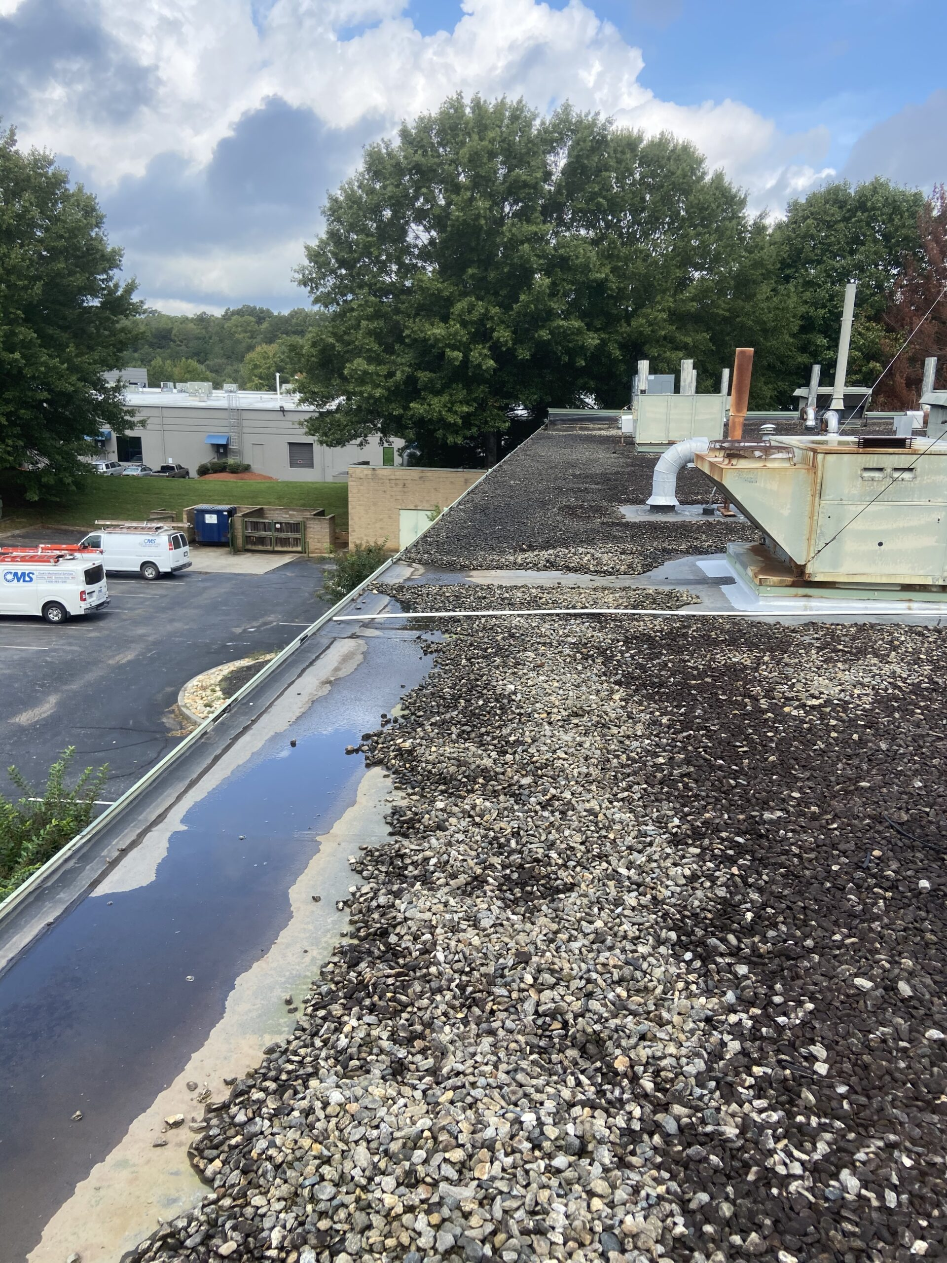 Water is standing on this commercial roof and will cause roof leaks