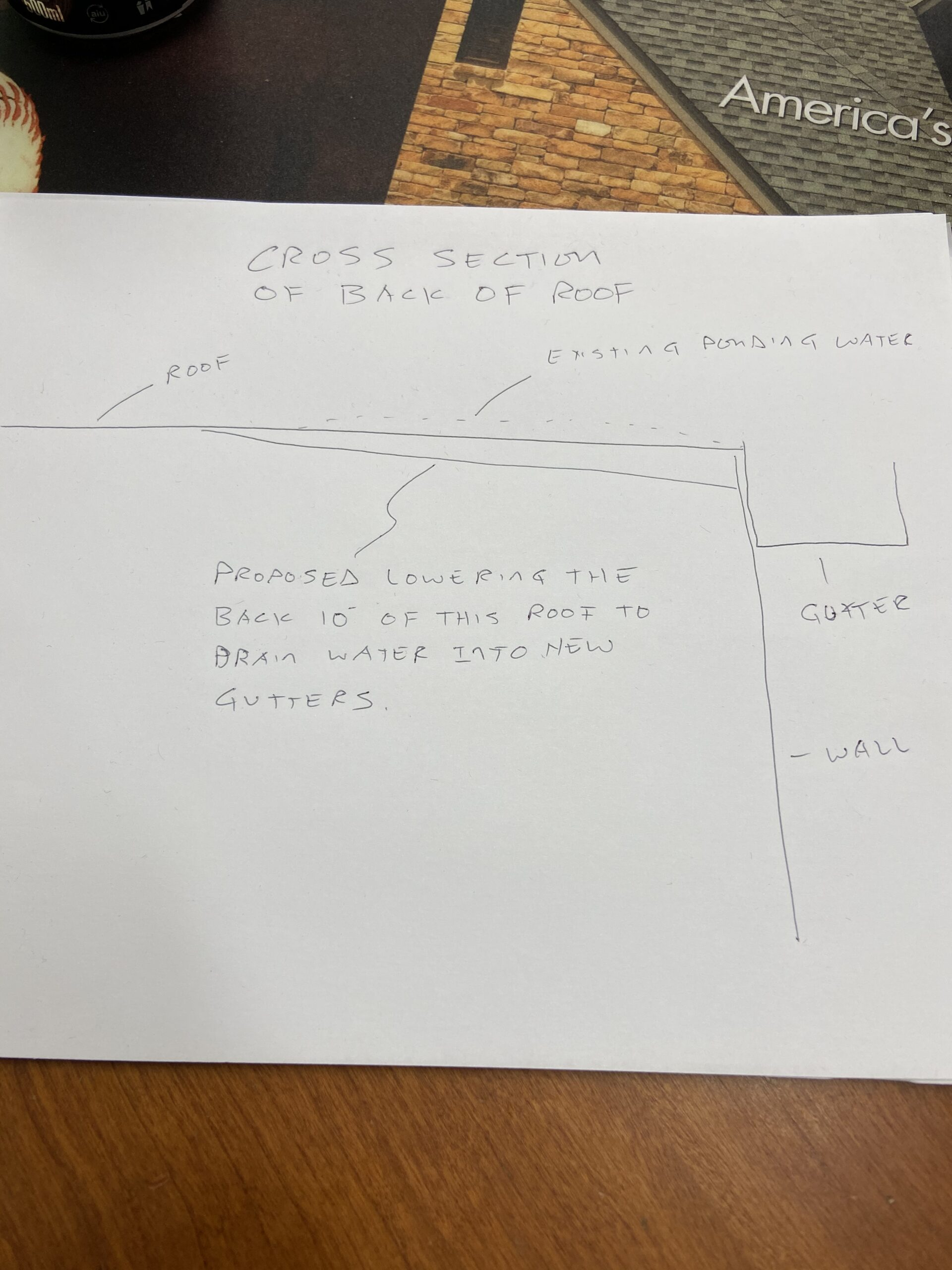 This is a drawing of a proposal to change the grade of the back of the roof to drain water