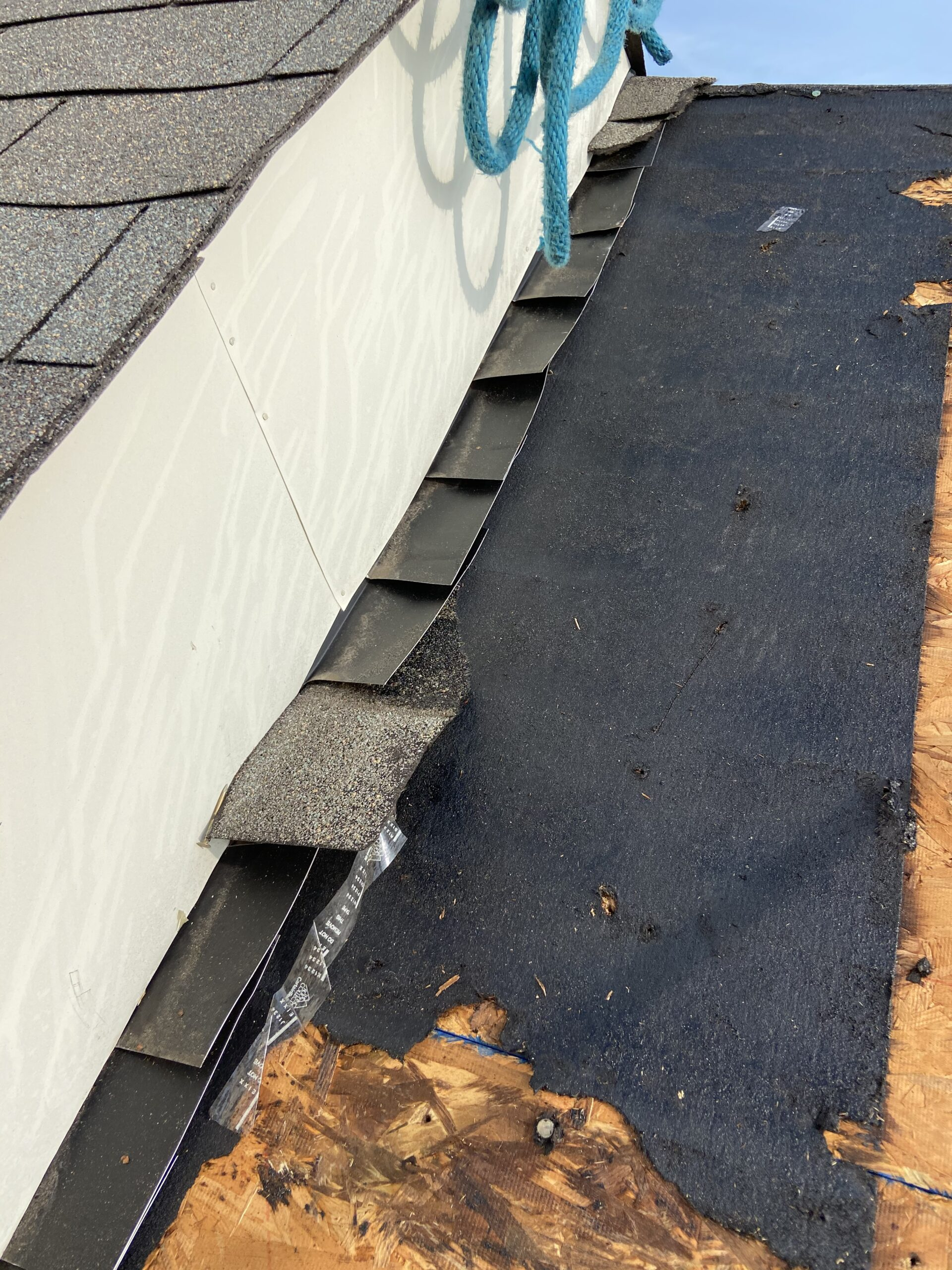 Here's another picture of some flashing that we are going to use to keep this roof from leaking